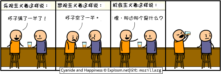 Cyanide & Happiness #2858:乐观主义者VS悲观主义者
